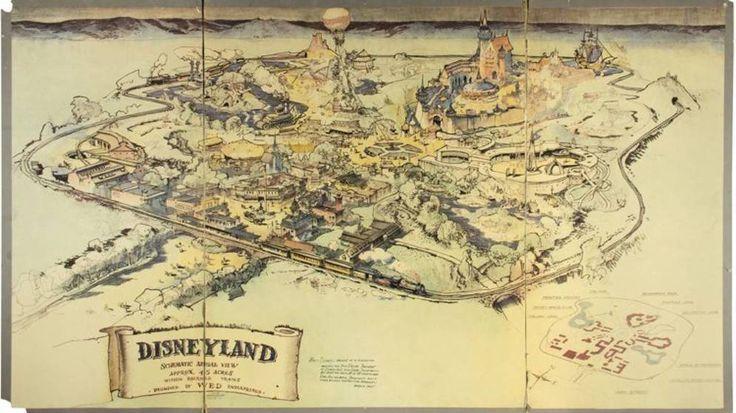 Foto facilitada por Van Eaton Galleries del mapa en color original de Disneyland, utilizado por Walt Disney para conseguir fondos para su primer parque tematico, de 1943. El mapa fue vendido el 25 de junio de 2017 por 708.000 $. Foto: EFE