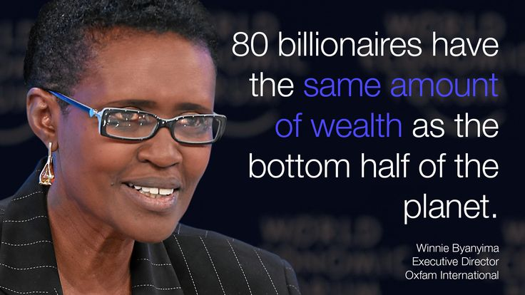 """""""80 billionaires have the same amount of wealth as the bottom half of the planet"""" said Winnie Byanyima in #Davos at #wef15."""
