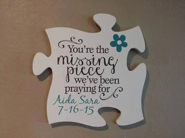What a unique way to welcome a new baby. Additional puzzle pieces can be added for photos, other kids, or whatever is meaningful to your family.