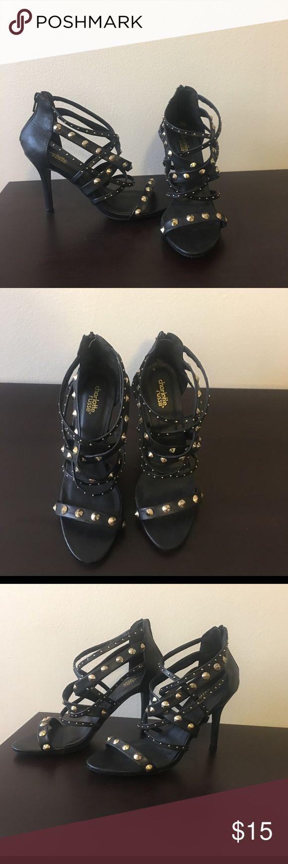 Black studded heels Charlotte Russe 8 1/2 black gold studded heels from Charlotte Russe. New without tags Charlotte Russe Shoes Heels