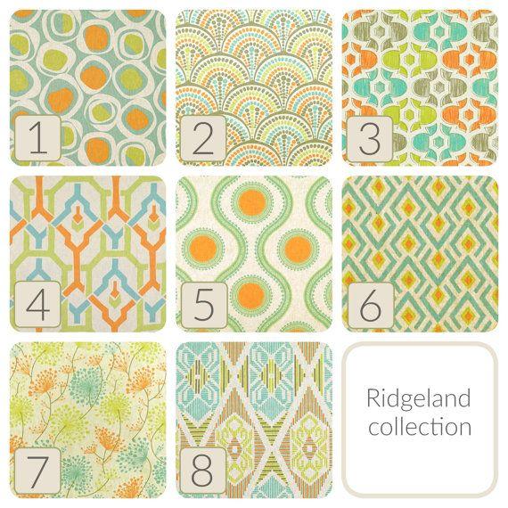 Panneaux de Rideau Aqua orange citron vert. Toutes les tailles. Traitements de fenêtre décorative. Ridgeland à motifs rideaux rideaux.