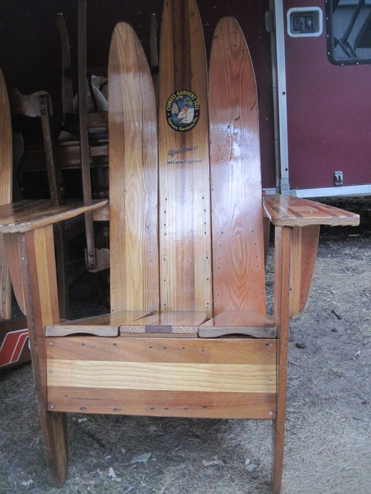 lounge chair made from old water ski's as see at the Allegan, Michigan antique show