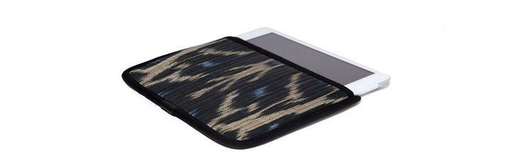 Чехол для Apple iPad Mini, бежевый с голубым в черной окантовке