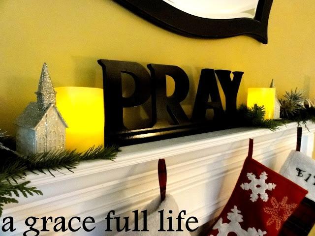 Dollar Tree Christmas Mantel-- Replace 'Pray ' with 'Believe'?
