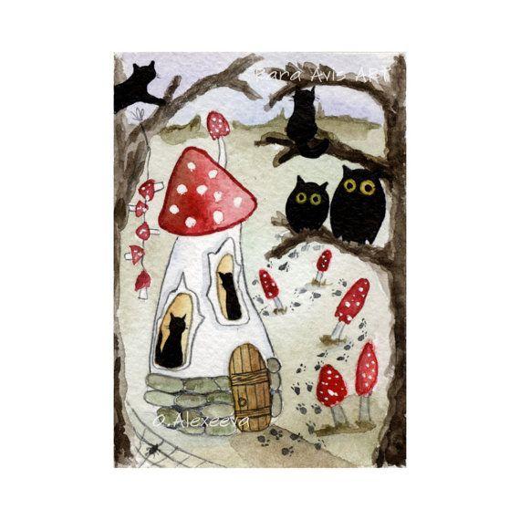 Klein huis in het dichte woud ACEO Schwarze Katz silhouet originele Halloween aceo miniatuur aquarel aquarel landschap afdrukken