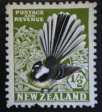 Artfind.co.nz - Artwork - New Zealand Fantail Stamp by Jane Crisp
