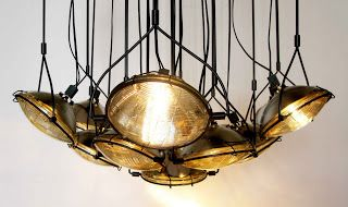 Commute Home:  Upcycle old headlights into a conversation worthy chandelier.