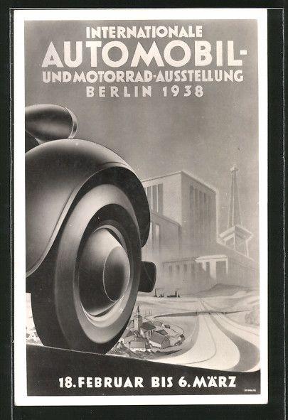 old postcard: Künstler-AK Berlin, Internationale Automobil- und Motorrad-Ausstellung 1938, Blick auf das Messegelände mit Funkturm