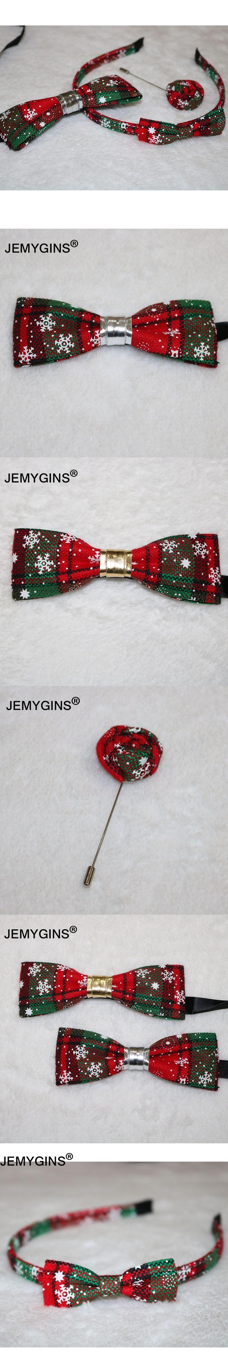 JEMYGINS Fashion Family Christmas Suit Cotton Linen Men&Boy Bow Tie Brooch Corsage Girl Hair Hoop Handmade Design Self Wedding