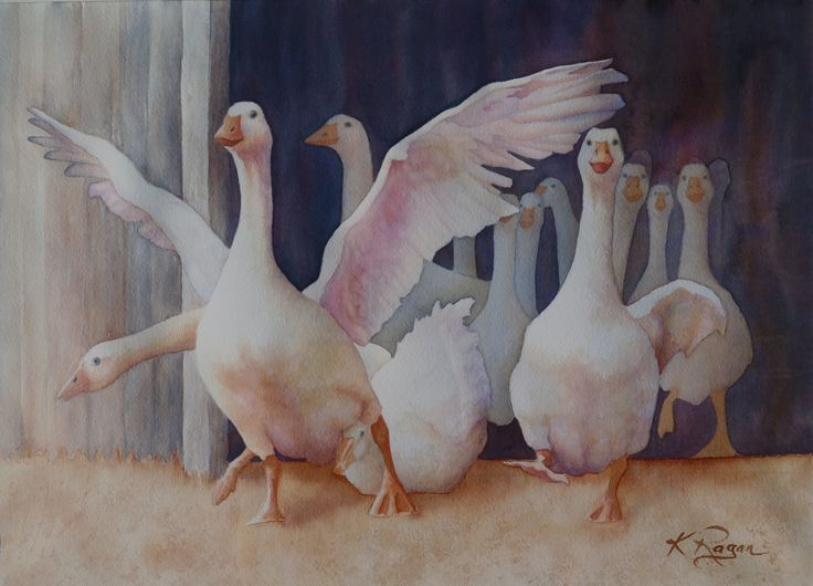 """SOme local geese, flapping and tumbling out their shed. I've called this painting """"I'M FREE"""""""