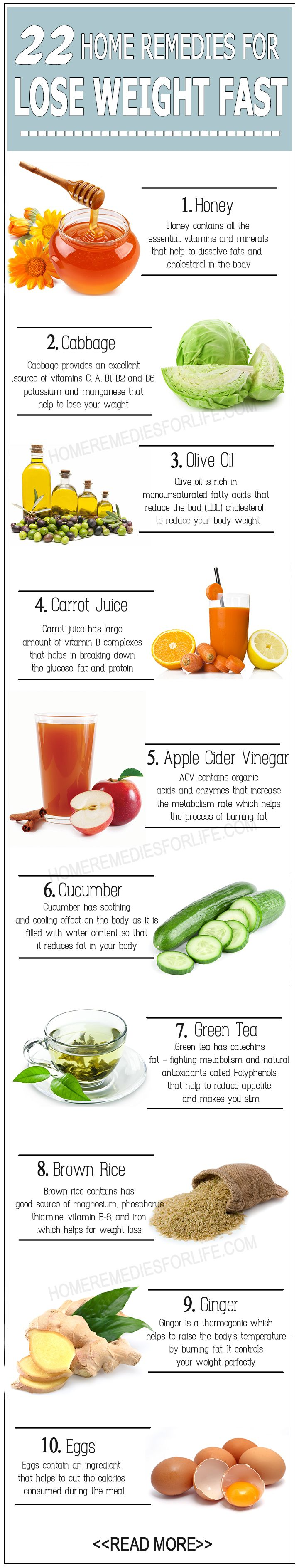 22 DIY Home Remedies for Weight Loss !! chicparlour.com #skincaretips…