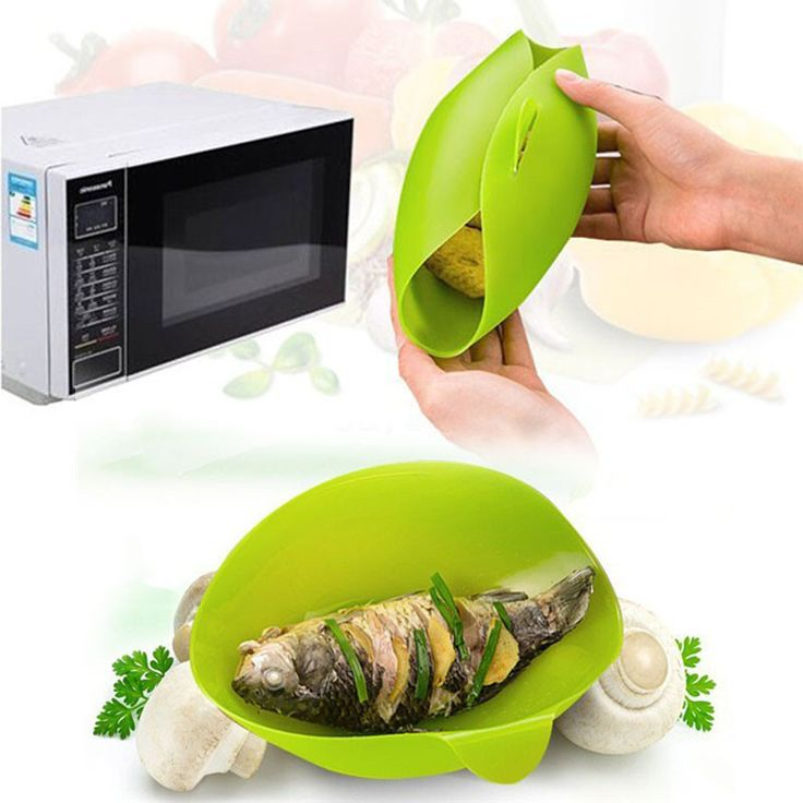 1PC Green Soft Silicone Folding Bowl Microwave Steamer Baking Fish Steam Roaster Bread Food Cook Tools