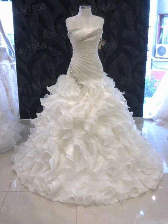 Strapless ruffled wedding dresses,organza wedding dress,ball gown Rhinestone wedding dress on Etsy, $278.00