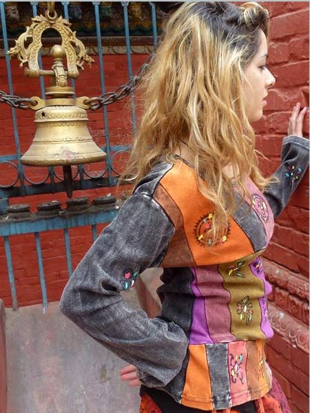 Ladies patchwork hand painted hippie top. For sale now at www.himalayanhandmades.com #himalayanhandmades #hippieclothing