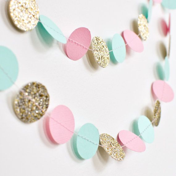 Pink Mint Gold 10ft Paper Garland Birthday by DesignElementsByErin