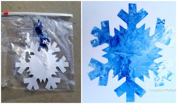 Drop snowflake and a squirt of both paint colors in the large baggy. Seal and allow child to push paint through the plastic to cover the snowflake without a mess! Take out snowflake and allow to dry. Glue to construction paper.