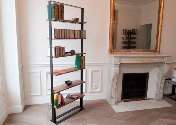 Contemporary shelf / steel / in wood / for DVDs - SÉVERIN II - Alex de Rouvray Design