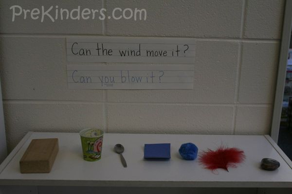 This is a science experiment with wind where children blow on objects to simulate the wind.