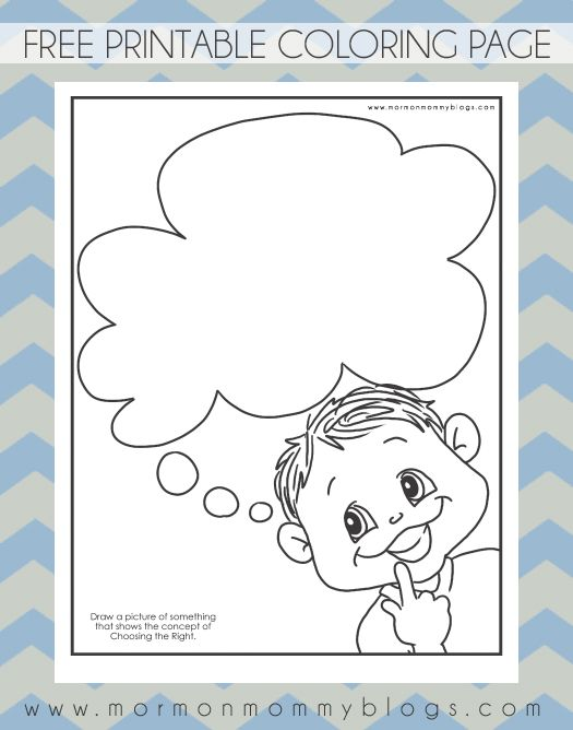 Mormon mommy printables thinking of choosing the right for Thinking of you printable coloring pages