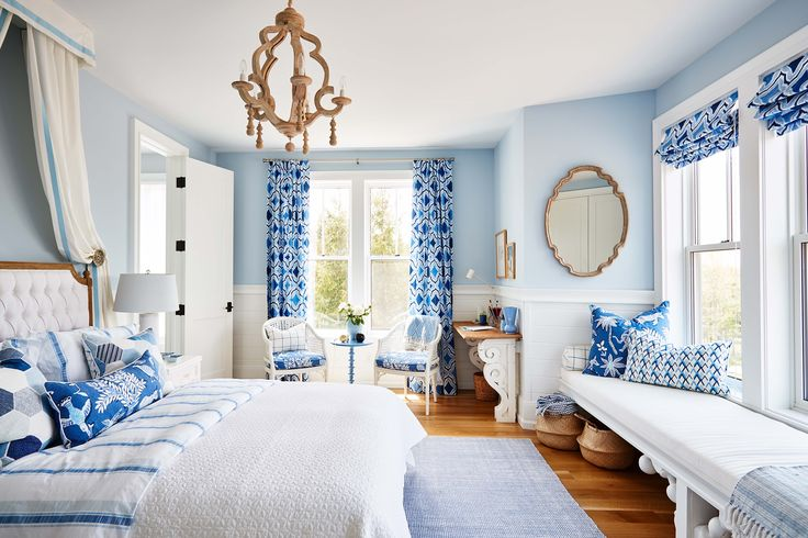 """Blue, white and ivory bedroom designed by Sarah Richardson as seen on HGTV's """"Off the Grid."""" Photo by Stacey Brandford (via HGTV)."""