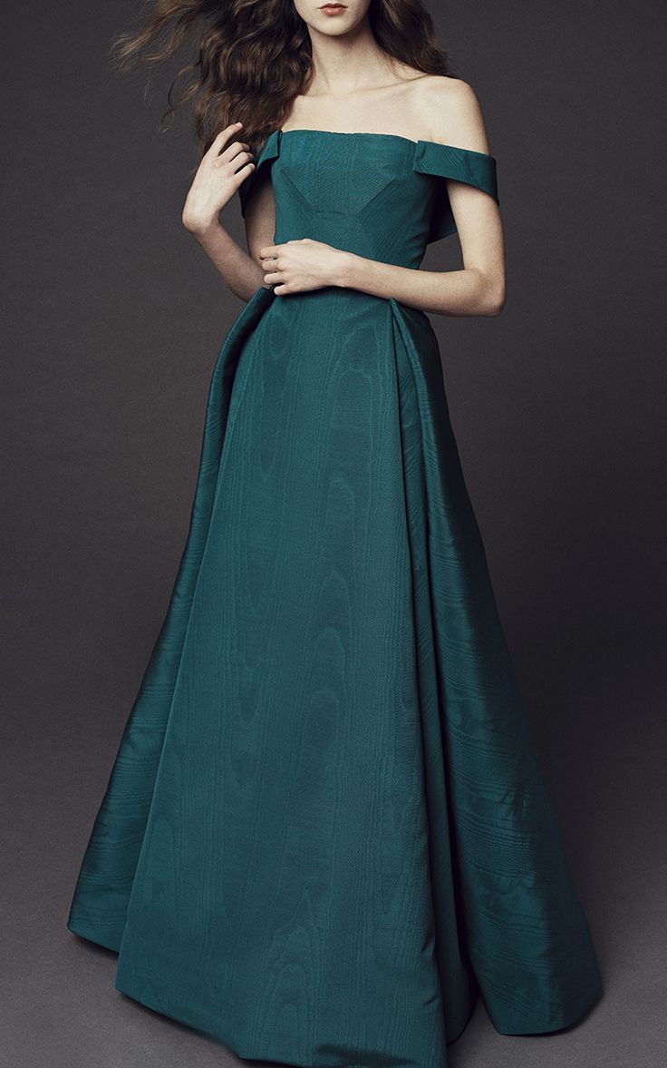Off the Shoulder Moire Ottoman Gown by Zac Posen | Moda Operandi