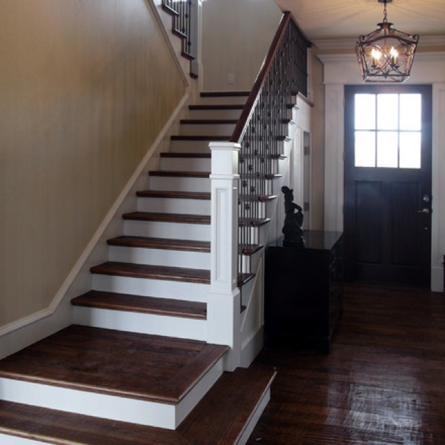 dark floors u0026 risers white newel post black spindles