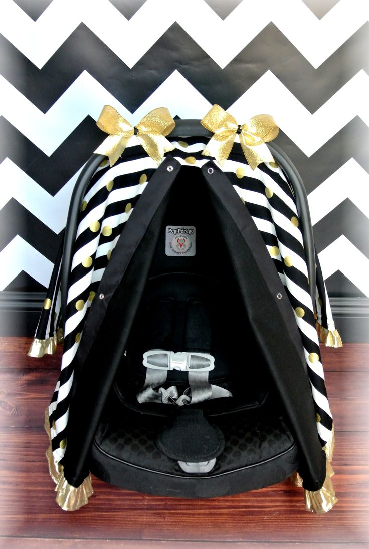 Black And White Stripe W Gold Polka Dot Canopy Baby
