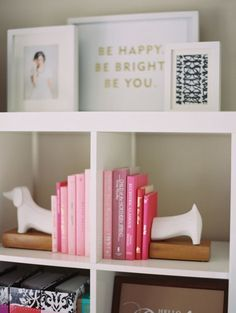 pink books and daschund bookends // bookcase decor