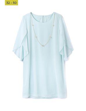 aqua trapeze pearl necklace  tunic