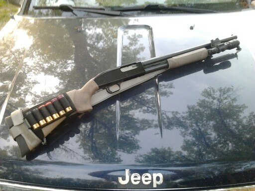 Mossberg 500 Persuader Shotgun With Hogue Stock And Forend In Ghillie Tan,  Coast Products Picatinny