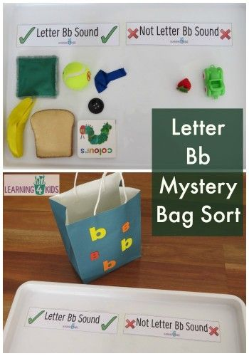 Letter Bb Mystery Bag Sort After learning letter you could do a two tub mixup for assessment