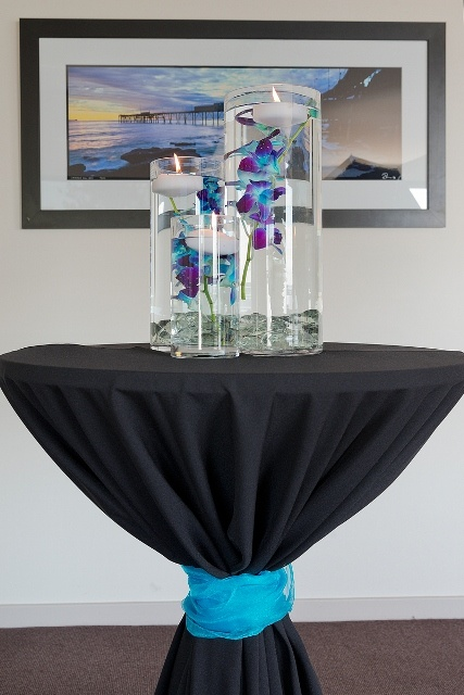 #bartables #vases #centrepiece #orchids #candles #wedding