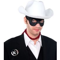 Adult Lone Ranger Accessory Kit - Complete your costume with a classic white cowboy hat, red bandana, black eye mask and silver badge