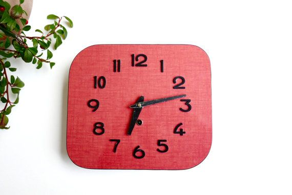 French vintage red Formica wall clock, 1960s
