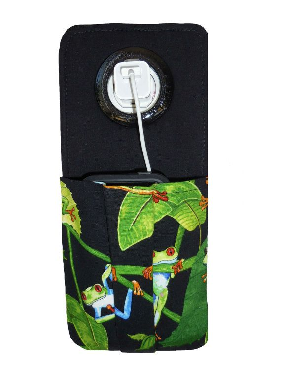 These adorable frogs will bring a smile to your face every day!  This cell phone charging socket holder is the perfect solution for charging your cell phone at home, in the dorm, & when traveling! Say goodbye to leaving your phone on dirty hotel room floors! Now you can protect your iPhone from being stepped on by using this unique handmade cell phone charging station pocket. Click on the photo or hop on over to  www.etsy.com/shop/LisasBagstoRiches to order your cell phone charging pocket…