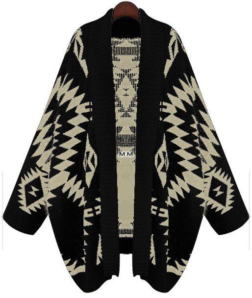 Black Batwing Long Sleeve Geometric Cardigan Sweater