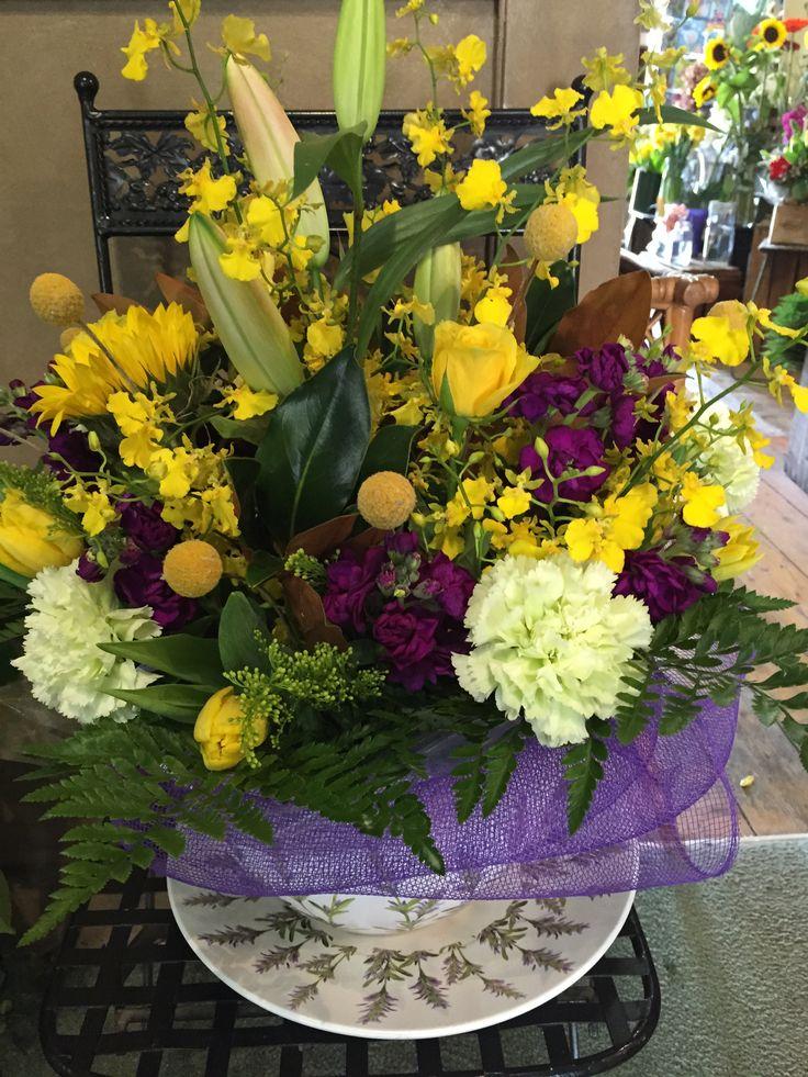 Yellow and purple shades seasonal mix for a school teacher
