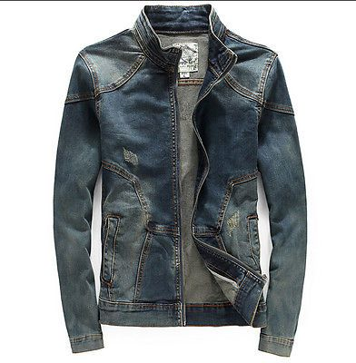 News Denim Men's Vintage Fashion Stand Collar Slim Fit Coat Jeans Jacket Outwear | eBay