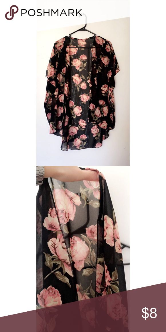 Sheer Black Cover Up w/ Rose Print Worn a few times / Good condition / Small but could fit Medium / Perfect for beach, pool, or casual outing Jackets & Coats