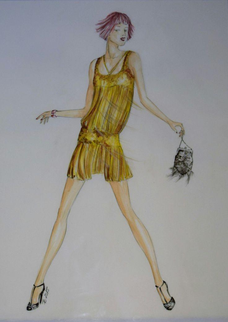 Gouache, Modell von Roberto Cavalli. Conny Feller