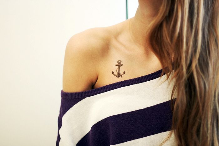 "Anchor Tattoo except I want the chain to lead out and say ""hello love"" and the steam to be a cross and I want it on my right shoulder."