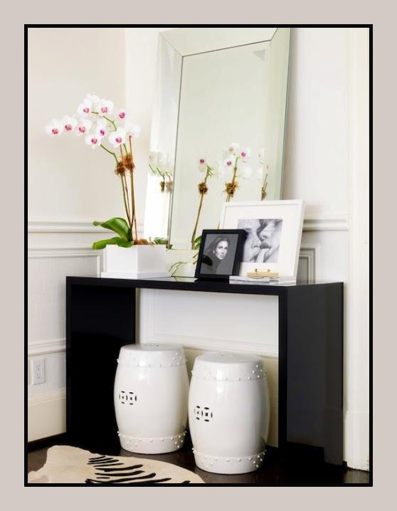 White U0026 Black Modern Foyer Entrance Design With Glossy Black Lacquer Modern  Console Table, White Garden Stools, Black U0026 White Zebra Cowhide Rug, ...