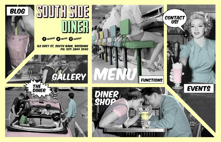 South Side Diner -  American, Diner, International Outdoor Seating, Private Parties, Takes Reservations.  Must try this place food looks yum ..................................................Shop B8/B9, 168 Grey St  South Bank, QLD 04101