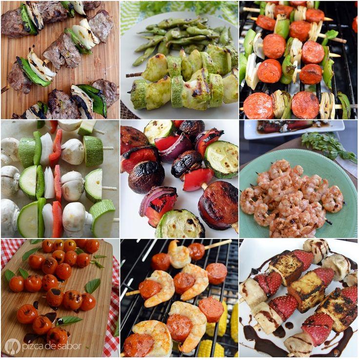 17 recetas de brochetas a la parrilla | http://www.pizcadesabor.com/2015/08/14/17-recetas-de-brochetas-a-la-parrilla/