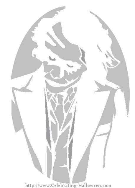 The Dark Knight Joker Pumpkin Carving Stencil at http://celebrating-halloween.com/pumpkincarving/the-dark-knight-joker-pumpkin-carving-stencil.shtml#