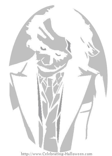The Dark Knight Joker Pumpkin Carving Stencil at http://celebrating-halloween.com/pumpkincarving/the-dark-knight-joker-pumpkin-carving-stencil.shtml#