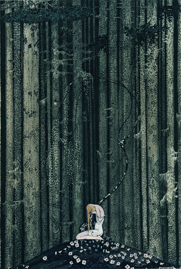 """She came to rest at a green place in the dark woods""  At Rest in the Dark Wood - illustration by Kay Nielsen, 1914, East of the Sun & West of the Moon"