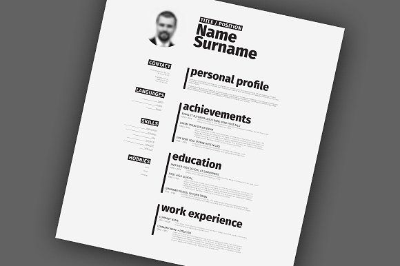 Minimalist TypographyResume Template by Orson on @creativemarket