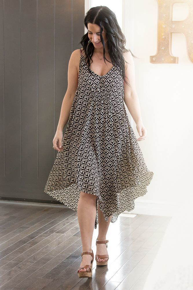 Image of Asymmetrical Patterned Dress