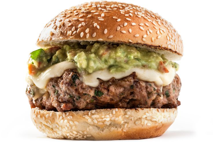 A recipe for juicy guacamole turkey burgers. You will need dark-meat turkey, chili powder, lime zest, onion, and cilantro for the burger patties.